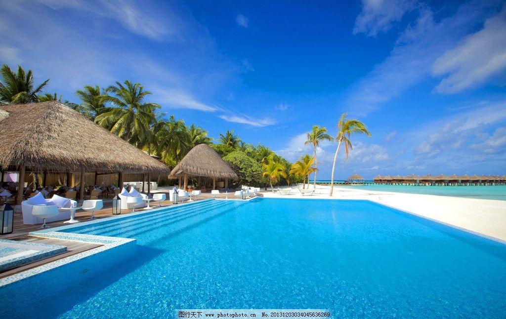 蓝色 蔚蓝 清澈 天堂 仙境 水上屋 游泳池 马尔代夫风景系列二 国外