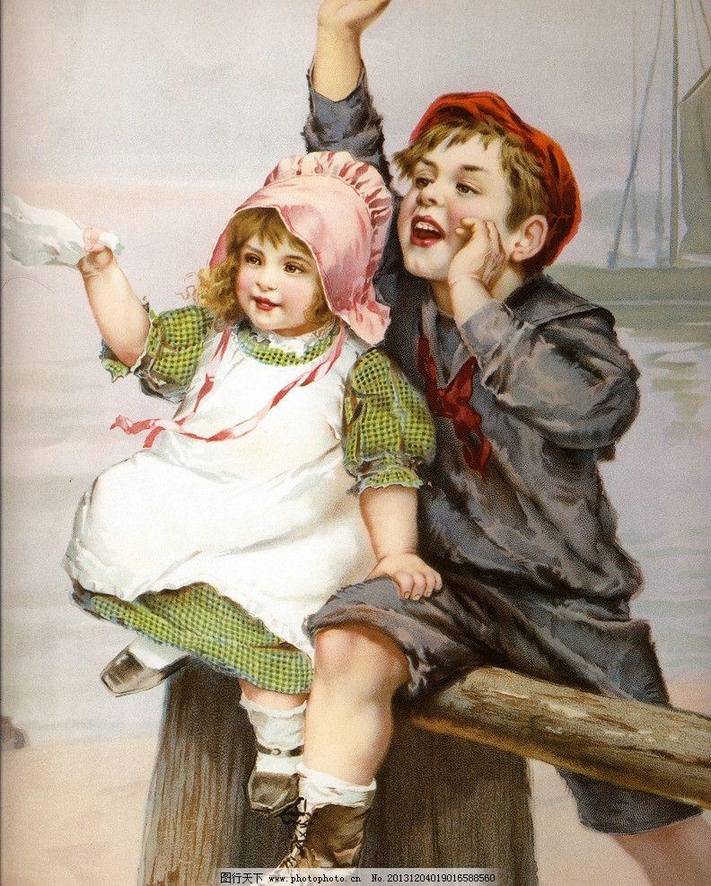 人物油画 人物绘画 兄妹俩 小男孩 小女孩 西方油画 人物画 欧美油画