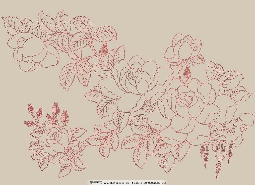 淡雅玫瑰 花卉 玫瑰 线描 淡雅 花纹 底纹 底纹背景 底纹边框 矢量 ai