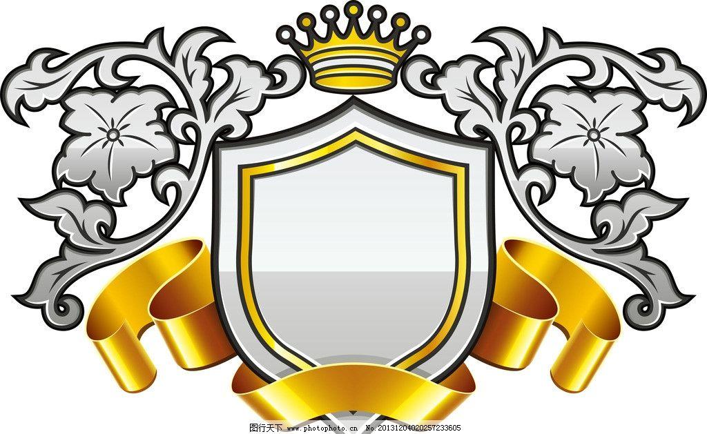 欧式盾形花纹 欧式丝带皇冠 欧式花边 底纹背景 底纹边框 矢量 ai