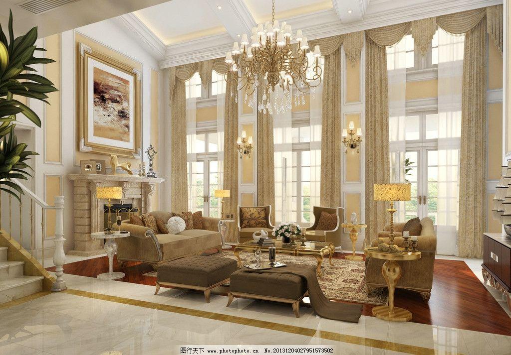 客厅 简欧 室内 效果图 窗户 吊灯图片