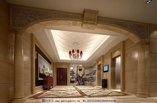 室内设计酒店电梯间设计 酒店门头 罗马柱 欧式风格 室内效果图