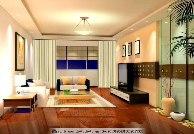 客厅效果图 茶几 茶具 窗 窗帘 地板 电视 电视柜 吊灯 客厅效果图