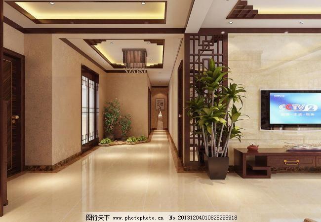 新中式室内效果图 中式        新中式 室内 电视机 植物 过道 室内