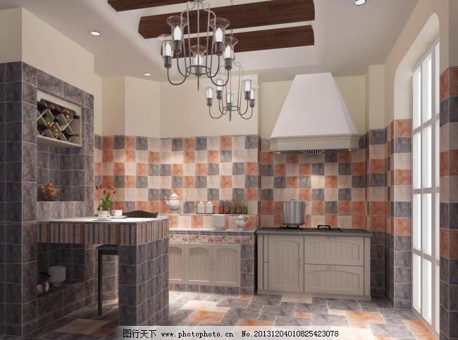装修效果图 室内设计 厨房装修 瓷砖 地砖 复古 欧式 华丽 高贵 别墅