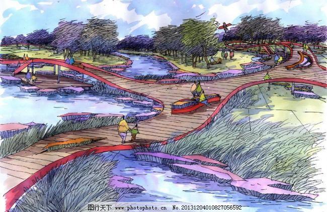 景观园林手绘效果图 彩绘 彩铅 公园 景观设计 马克笔 室外 自然风光