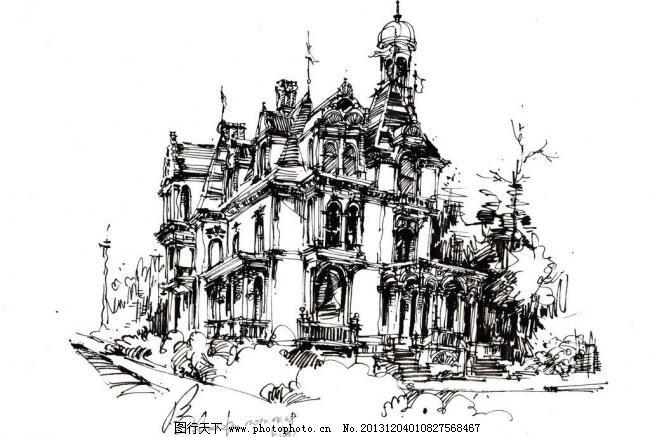 建筑手绘 建筑手绘图片免费下载 别墅设计 古典建筑 欧式 速写