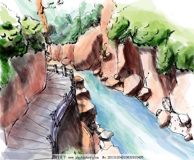 景观手绘风景 景观手绘风景图片免费下载 景观设计 水流 小溪 水湾