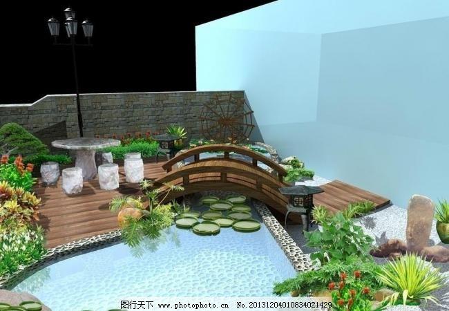 山庄阳台设计效果图 室内模型 室内设计 水景设计 睡莲 小桥流水