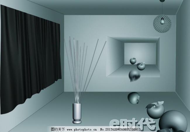 72dpi e时代 psd 吊灯 花瓣 花瓶 环境设计 苹果 其他设计 墙体 墙体