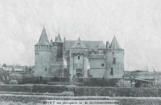灰色城堡图片免费下载 100dpi jpg 城堡 底片 黑白 环境设计 灰色