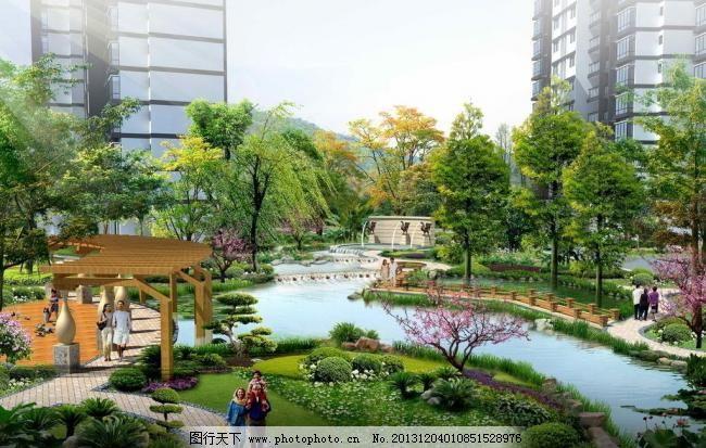 小区内庭景观效果图 雕塑 景观设计 景墙 廊架 木栈道 水景 桃花
