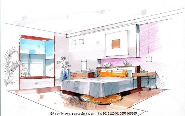 jpg 环境设计 设计 室内设计 手绘 手绘室内效果图 手绘效果图 卧室