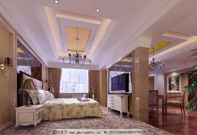 主人卧室 地毯 木地板 欧式风格 室内设计 卧室效果图 豪华包间
