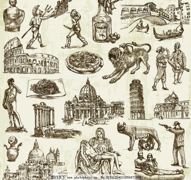 手绘插图 比萨斜塔 城市 城市风景 城市建筑 雕像 动漫动画 风景漫画