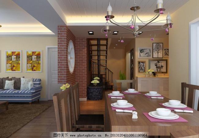 欧式沙发 餐厅效果图 餐厅 楼梯 铁艺吊灯 餐桌椅 挂画 砖纹墙纸 欧