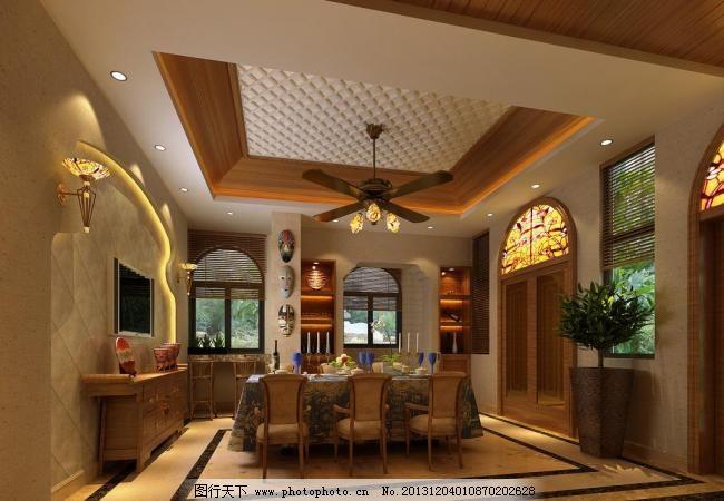 欧式餐厅效果图 欧式 餐厅        餐桌 吊灯 盆景 窗户 灯槽 室内