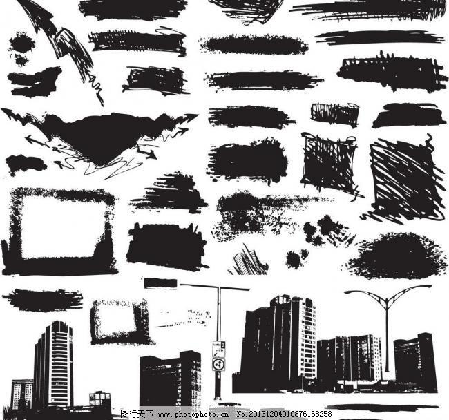 都市 对话框 黑白 黑色 花纹 建筑家居 建筑剪影 墨迹城市剪影矢量