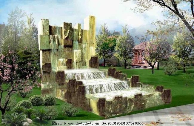 喷水池效果图图片