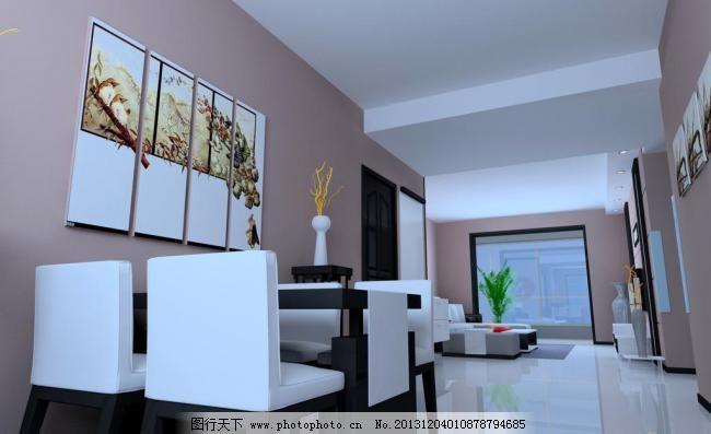 装修设计 装修效果图 椅子 壁画 地砖 室内设计 正然硅藻泥效果图