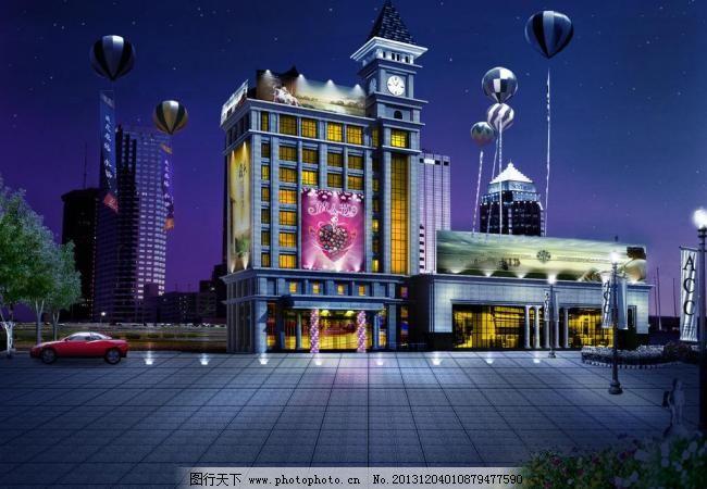 后期素材 环境设计 建筑景观效果图 建筑设计 建筑外观 商业建筑夜景