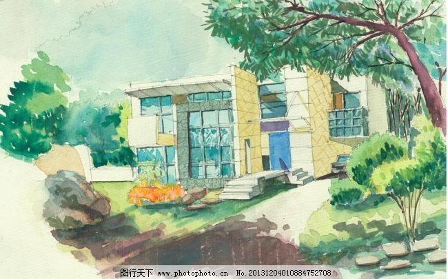 手绘图 手绘别墅设计素材 手绘别墅模板下载 手绘别墅 手绘图 水彩