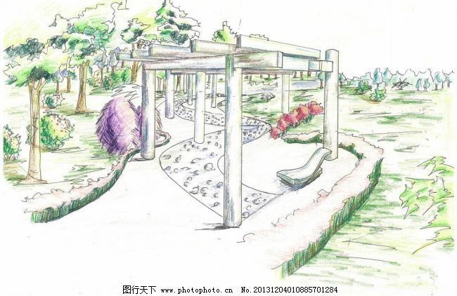 景观手绘 景观手绘图片免费下载 彩色铅笔 草坪 灌木 廊架 植物