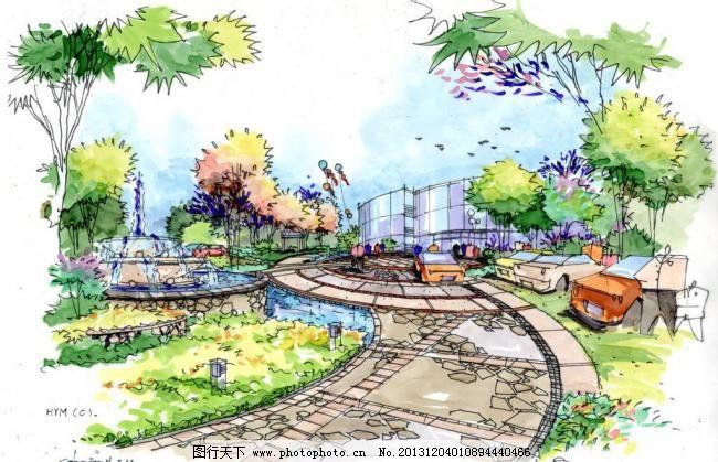 居住区手绘透视效果图 居住区庭院 手绘图        方案设计图 景观