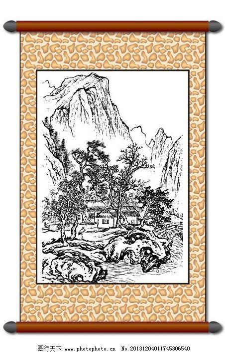 白描风景 版画风景 山水画 树木 房屋建筑 线描 工笔 美术 黑白稿