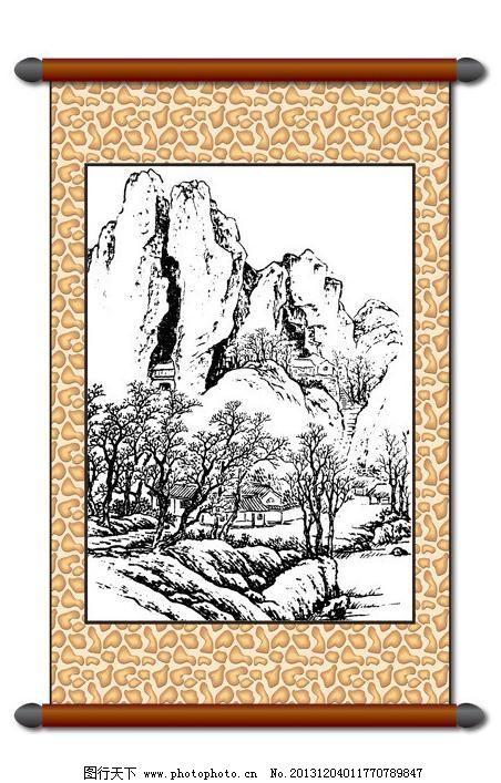 风景画模板下载 风景画 白描风景 版画风景 山水画 古建筑 树木 线描