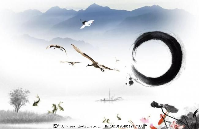 水墨画古典元素图片_山水风景画
