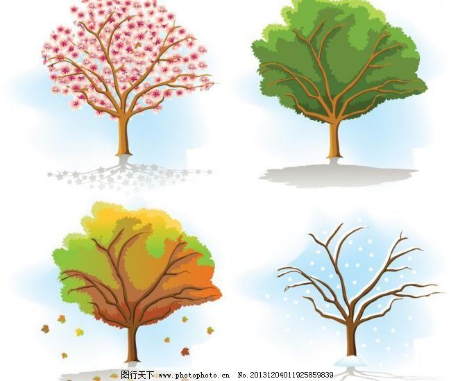 树的四季模板下载 树的四季 树 树木 手绘 树枝 无框画 四季 一年四季