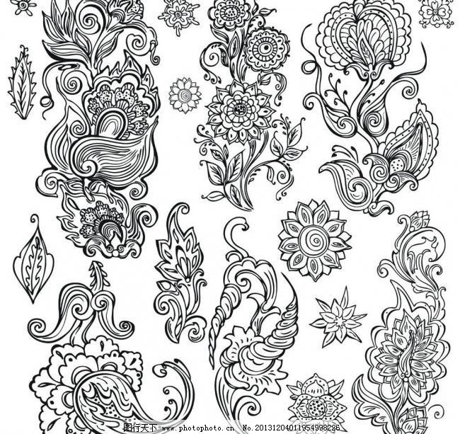 手绘花纹花卉模板下载 手绘花纹花卉 手绘花纹 墙纸 黑白花纹 无框画