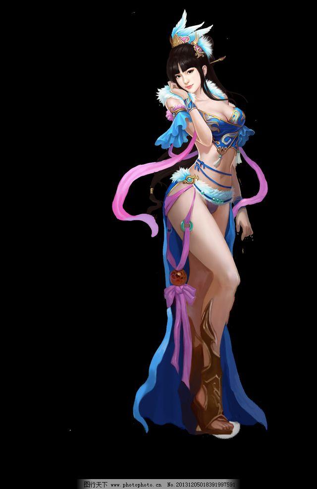 游戏原画 游戏 原画 游戏人物 游戏美女 蓝衣女 仙女 动漫人物 动漫