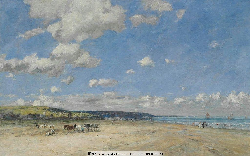 风景油画 色彩 装饰画 风景画 绘画 白云 海边 沙滩 蓝天 嬉戏