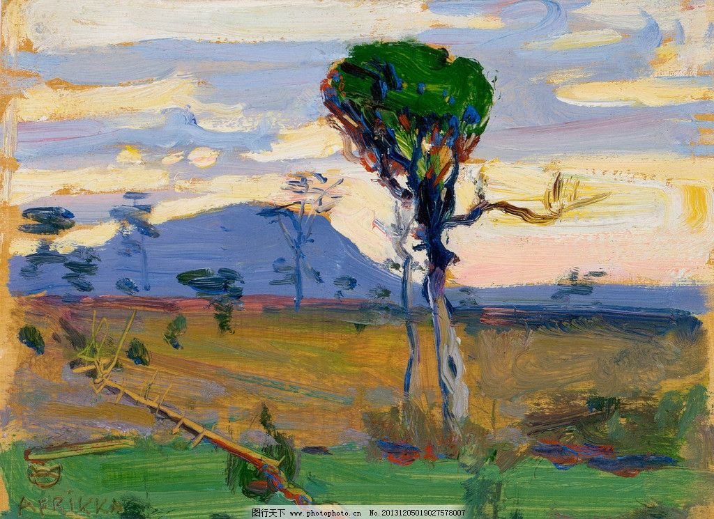 风景油画 油画 色彩 装饰画 风景画 绘画 树木 大树 草原 云彩 绘画