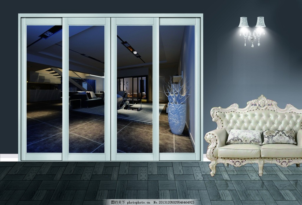 吊趟门展示,效果图 椅子 灯光 室内 室内门-图行天下