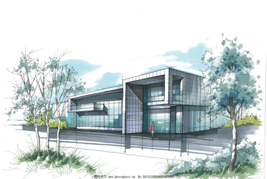 建筑透视图 建筑 透视 效果 手绘 快题 考研 景观 建筑设计 环境设计