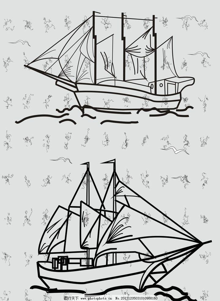 简笔画船步骤图
