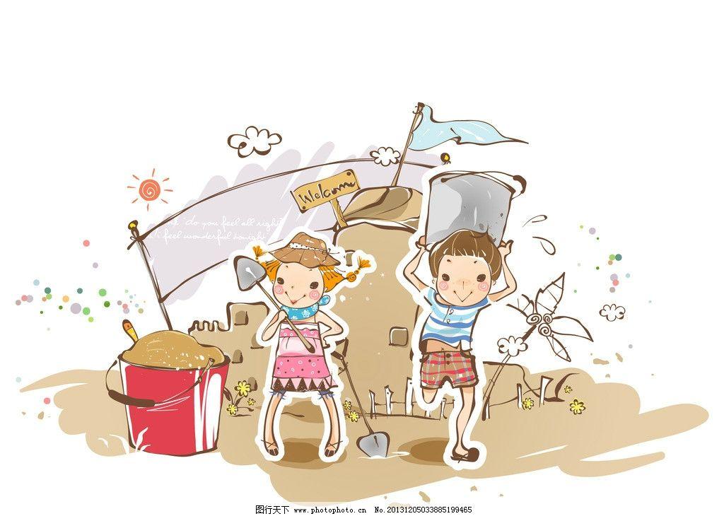 小朋友 玩沙子 海滩 海边 沙滩 铁桶 插画 水彩 背景画 卡通 图画素材