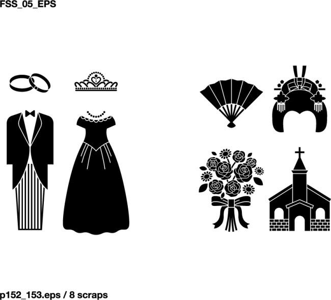 新郎新娘元素剪影素材免费下载 皇冠 婚礼 婚纱礼服 剪影 教堂 戒指