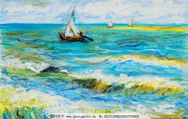 海浪帆船 油画风景 绘画 艺术 油画艺术 海浪 浪花 浪涛 海洋 大海