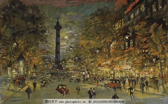 欧式风格街道油画图