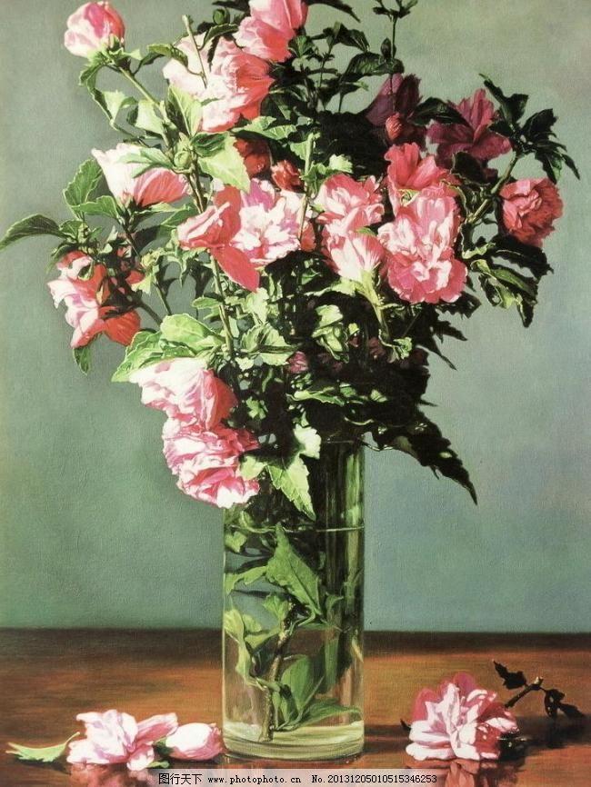 经典油画 花 鲜花 花朵 桌子 叶子 牡丹花 草 花瓶 玻璃瓶 杯子 花枝