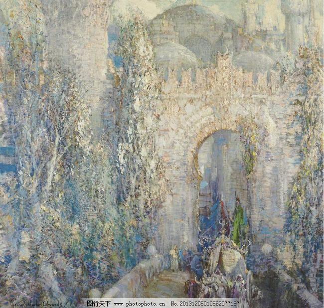 风景油画设计素材 风景油画模板下载 风景油画 大门 建筑 古建筑 古堡