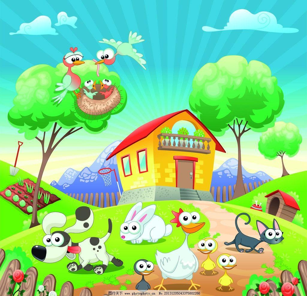 卡通动物 狗 兔子 猫 卡通猫 鸭子 屋子 其他 动漫动画 设计 400dpi