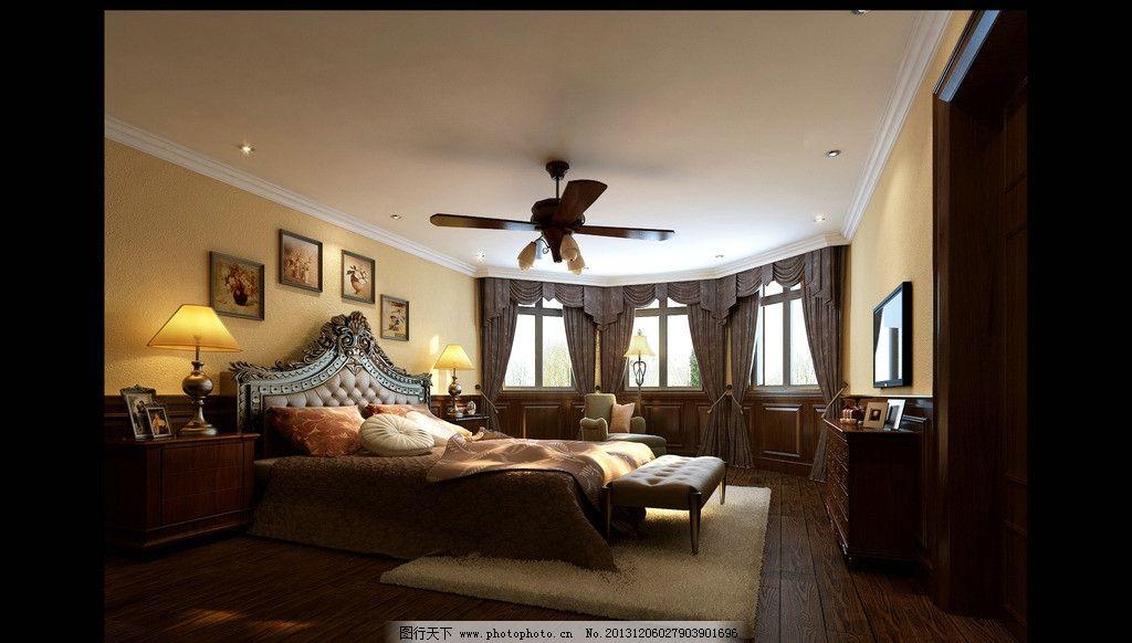 室内设计 装修效果图 欧式风格 美式风格 床铺 窗户 家装        3d作