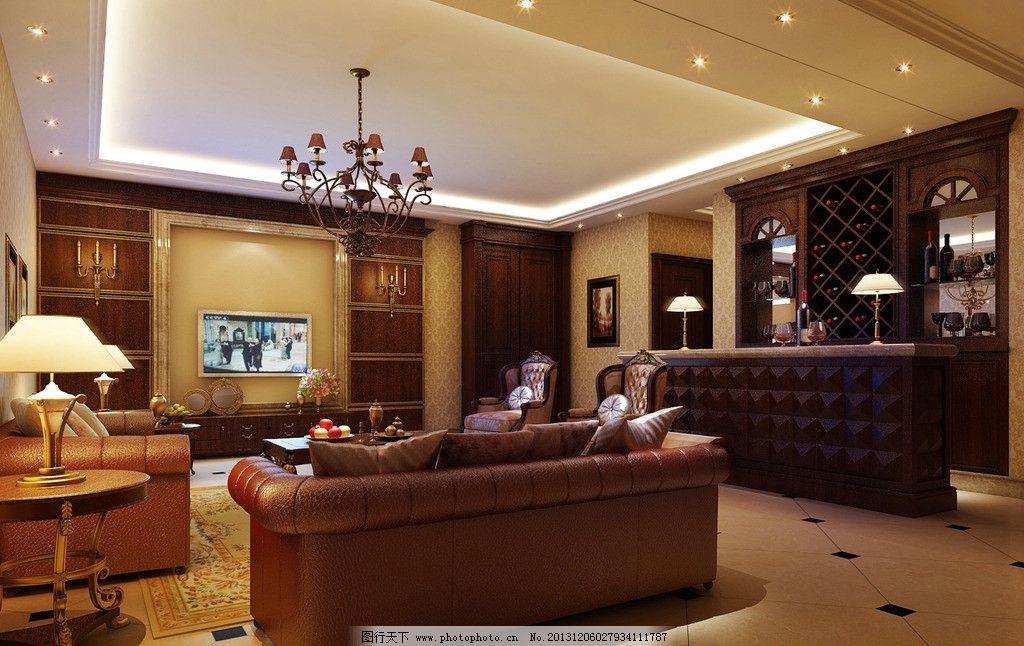 室内设计 装修效果图 空调 吧台 酒吧 欧式风格 美式风格 家装
