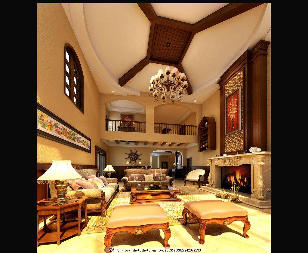 室内设计 装修效果图 欧式 客厅 美式 木装 壁炉 美式田园 家装