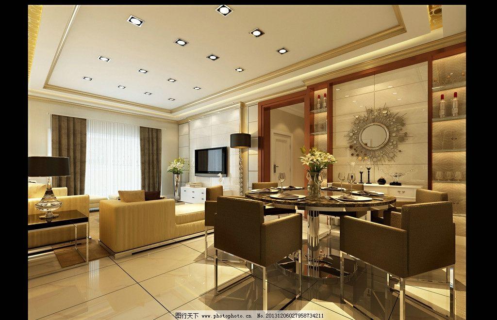 室内设计 装修效果图 餐厅 欧式风格 美式风格 跃层 家装        3d作